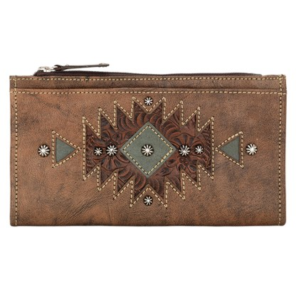 American West Leather Ladies' Tri-Fold French Wallet  Charcoal Chestnut Brown Turquoise ""