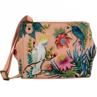 Anuschka 3 Compartment Convertible Tote Shoulder Bag  Cockatoo Sunrise