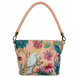 Anuschka Envelope Crossbody Clutch Wristlet- Hand Painted Real Leather Handbag  Painterly Palette