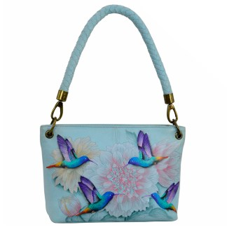 Anuschka Medium Shoulder Handbag Handpainted Leather Rainbow Birds