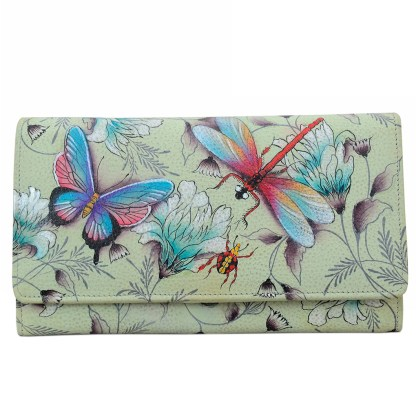 Anuschka Genuine Leather Accordion Flap Wallet Hand Painted Wondrous Wings