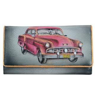 Anuschka RFID Blocking Accordion Flap Wallet Genuine Handpainted Leather Vintage Car