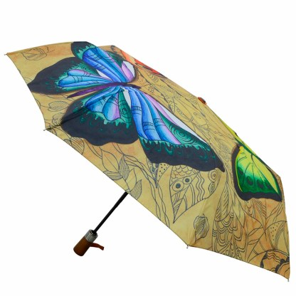 "Anuschka Art Foldable Umbrella 42"" Canopy Coverage Rain or Sun UV Protection Windproof  Earth Song"