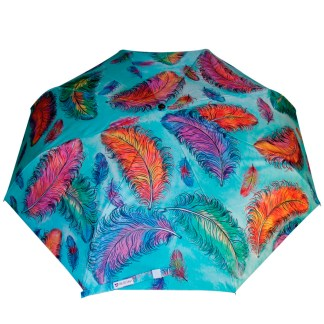 "Anuschka Art Foldable Umbrella 42"" Canopy Coverage Rain or Sun UV Protection Windproof  Floating Feathers"