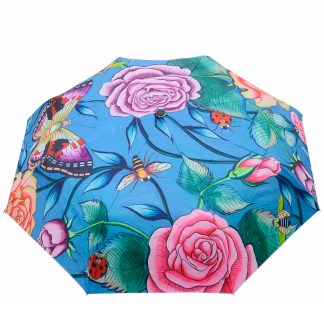 "Anuschka Art Foldable Umbrella 42"" Canopy Coverage Rain or Sun UV Protection Windproof  Roses D'amour"