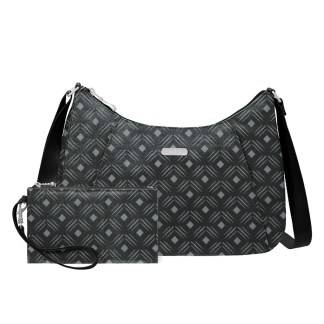 Baggallini  Slim RFID Crossbody Hobo Handbag, Black Diamond Print