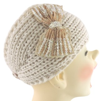 Silver Fever® Women Chunky Knitted Headband  Hair Band Head Wrap Earmuff White with Floral Bow