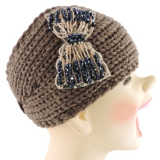 Silver Fever® Women Chunky Knitted Headband  Hair Band Head Wrap Earmuff Brown with Floral Bow