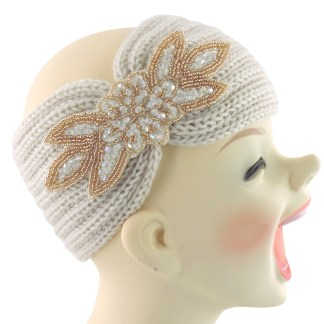 Silver Fever® Women Chunky Knitted Headband  Hair Band Head Wrap Earmuff White with Sequenced Floral