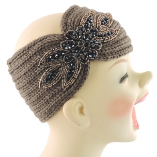 Silver Fever® Women Chunky Knitted Headband  Hair Band Head Wrap Earmuff Brown with Sequenced Floral