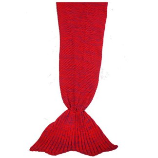 SILVEREFEVER Handmade High Density Thick Mermaid Blanket, Soft Warm for All Seasons, Sweet Gift - Red Cable Knit