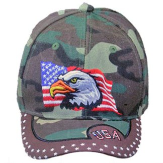 Silver Fever® Classic Baseball Hat 100% Adjustable Unisex Trucker Cap - Made to Last -- Camo USA & Flag