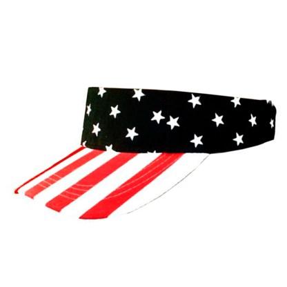 Silver Fever® Women Wide Brim Visor Hat UV Sunblock Fits All Adjustable Stars & Stripes Patriotic