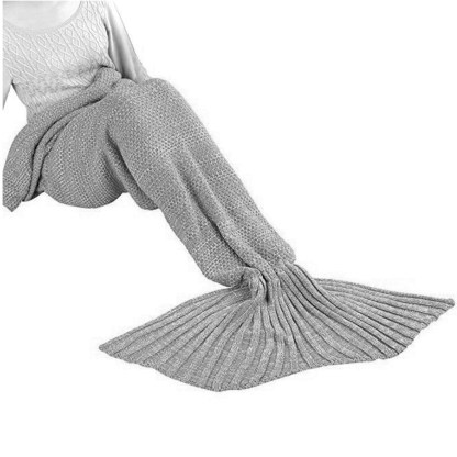 SILVEREFEVER Handmade High Density Thick Mermaid Blanket, Soft Warm for All Seasons, Sweet Gift- Purple Cable Knit