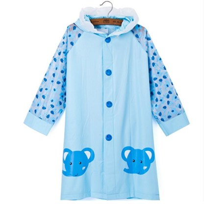 SILVERFEVER Rain Coat Kids Cartoon Characters Thick Raincoat Rain Poncho For Girls Boys With School Bag Cover - Blue Elephant