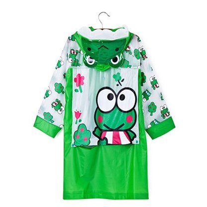 SILVERFEVER Rain Coat Kids Cartoon Characters Thick Raincoat Rain Poncho For Girls Boys With School Bag Cover - Green Frog