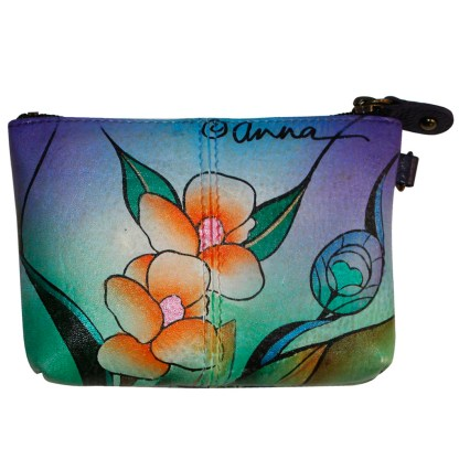Anna by Anuschka Leather Medium Coin Pouch Wallet - Midnight Peacock