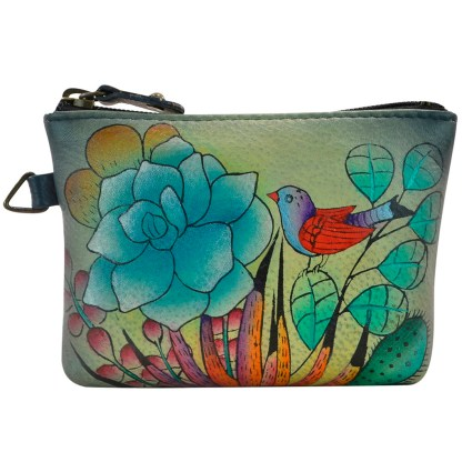 Anna by Anuschka Leather Medium Coin Pouch Wallet - Succulent Dreams