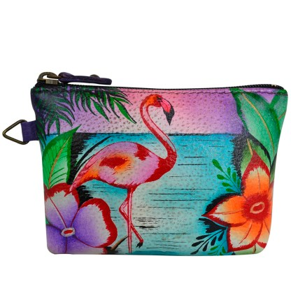 Anna by Anuschka Leather Medium Coin Pouch Wallet -  Tropical Flamingo