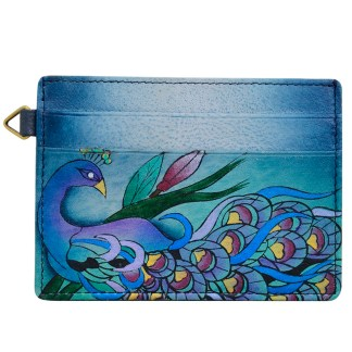 Anna by Anuschka Leather Slim Credit Case Wallet - Midnight Peacock Grey