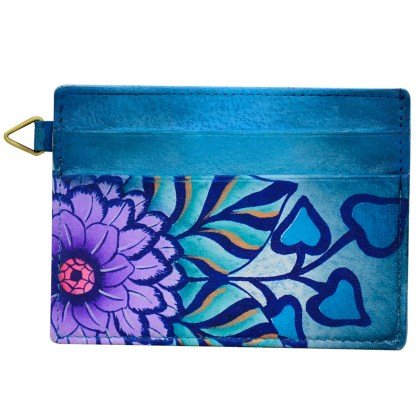 Anna by Anuschka Leather Slim Credit Case Wallet - Summer Bloom Blue