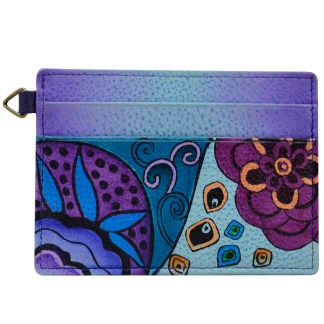 Anna by Anuschka Leather Slim Credit Case Wallet - Tribal Potpouri Eggplant