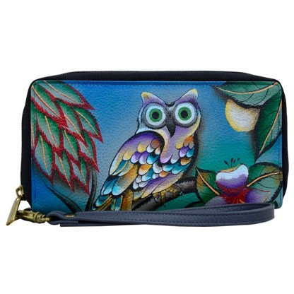 Anna by Anuschka Leather Zip Around Clutch Wristlet Wallet Midnight Owl
