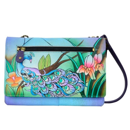 Anna by Anuschka Leather Wallet - Flap Closure - Cross Body Removable Strap Midnight Peacock