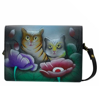 Anna by Anuschka Leather Wallet - Flap Closure - Cross Body Removable Strap Two Cats Grey