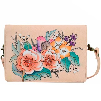 Anna by Anuschka Leather Wallet - Flap Closure - Cross Body Removable Strap Vintage Garden