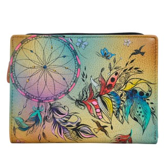 Anna by Anuschka Leather By Fold Wallet Clutch Sweet Dreams