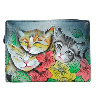 Anna by Anuschka Leather By Fold Wallet Clutch Three Kittens