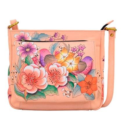 Anna by Anuschka Leather Hand Painted Medium Shoulder Hobo Handbag Vintage Garden Front Zipper