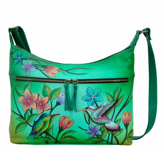 Anna by Anuschka Leather Hand Painted Medium Shoulder Hobo Handbag Birds in Paradise Green Large w Twin Pockets