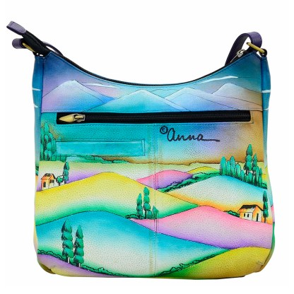 Anna by Anuschka Leather Hand Painted Medium Shoulder Hobo Handbag Village of Dreams Curved Top