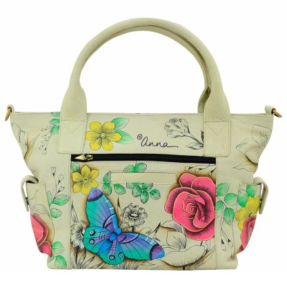 Anna by Anuschka Leather Hand Painted Tote Handbag ,Floral Paradise  W Side Poackets