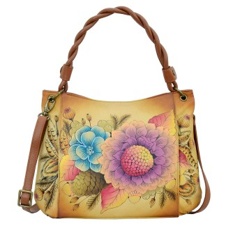 Anna by Anuschka Leather Hand Painted Tote Handbag ,Rustic Bouquet W Braided Handle