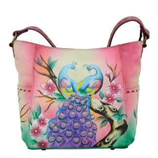 Anna by Anuschka Leather Hand Painted Medium Shoulder Hobo Handbag  Peacock Paradise Tall w Whipstitch Details