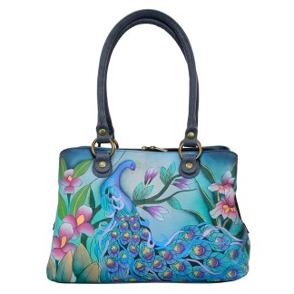 Anna by Anuschka Leather Hand Painted Satchel Handbag Midnight Peacock Grey-Large Multicompartment
