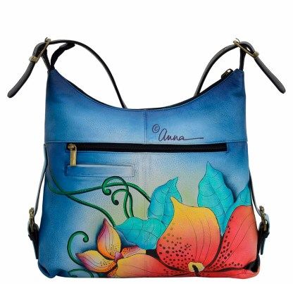 Anna by Anuschka Leather Hand Painted Medium Shoulder Hobo Handbag Midnight Floral Vertical Studded