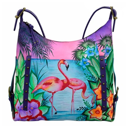 Anna by Anuschka Leather Hand Painted Medium Shoulder Hobo Handbag Tropical Safari Vertical Studded