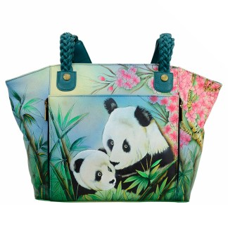 Anna by Anuschka Leather Hand Painted Tote Handbag ,Lovable Pandas  Organizer