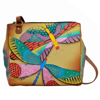 Anna by Anuschka Leather Hand Painted Medium Shoulder Hobo Handbag  Dancing Dragonflies Magnetic Snap Closure