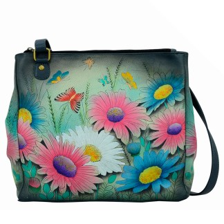 Anna by Anuschka Leather Hand Painted Medium Shoulder Hobo Handbag  Enchanted Evening Magnetic Snap Closure