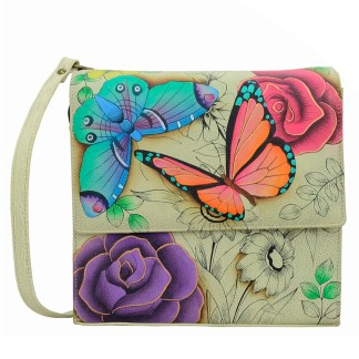 Anna by Anuschka Leather Medium Shoulder Crossbody Handbag Floral Paradise Flap Flap