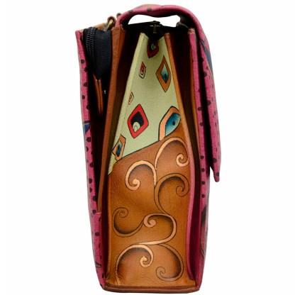 Anna by Anuschka Leather Medium Shoulder Crossbody Handbag Tribal Potpouri Flap Flap