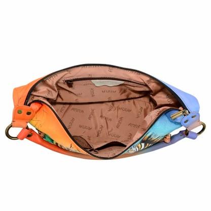 Anna by Anuschka Leather Hand Painted Medium Shoulder Hobo Handbag  Zebra Safari Side Zip Pockets
