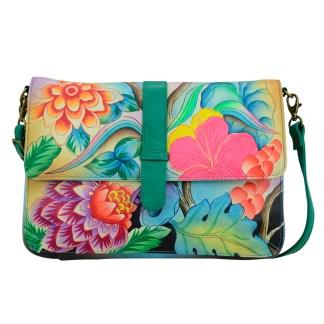 Anna by Anuschka Leather East West Shoulder Crossbody Handbag Whimsical Garden Belted Flap