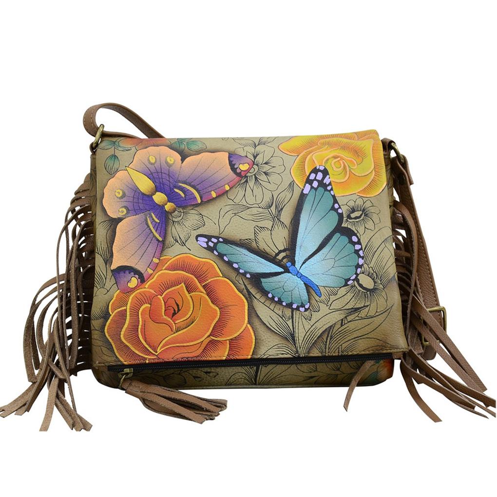 3840b1a4b Anna by Anuschka Leather East West Shoulder Crossbody Handbag Floral  Paradise Tan Fringed