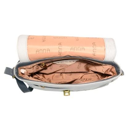 Anna by Anuschka Leather East West Shoulder Crossbody Handbag Patchwork Pewter Saddle